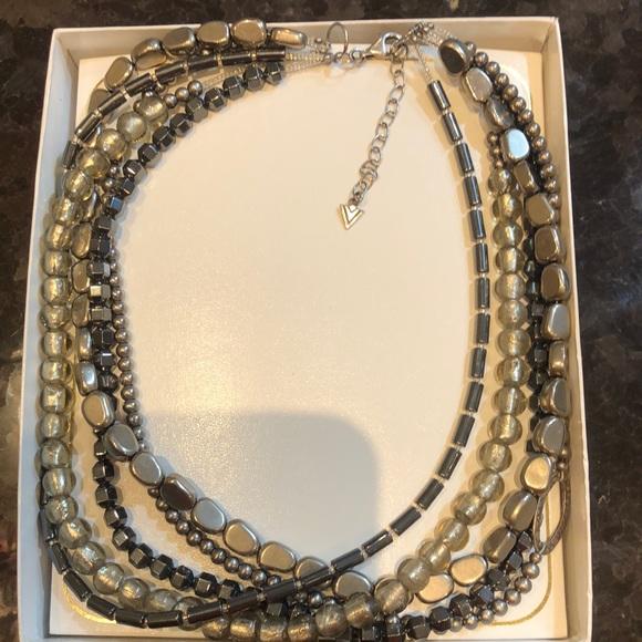 Silpada Hematite Hailstone 5 Layer Silver Necklace